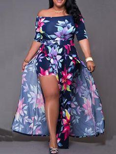 Off Shoulder Floral High Slit Dress