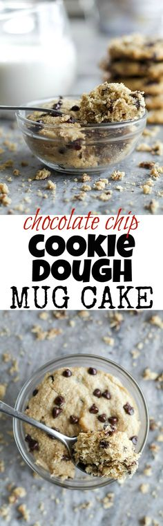 Chocolate Chip Cookie Dough Mug Cake - only two minutes stand between you and this deliciously healthy snack! It's made with NO flour, butter, or oil, but so soft and fluffy Mug Cookie Recipes, Healthy Cookie Recipes, Mug Recipes, Healthy Sweets, Vegan Desserts, Baking Recipes, Sweet Recipes, Delicious Desserts, Snack Recipes