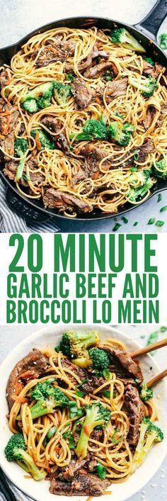 20 Minute Garlic Beef and Broccoli Lo Mein has melt in your mouth tender beef with broccoli, carrots, and noodles. The sauce adds such amazing flavor to this incredibly easy meal! #BeefFoodRecipes