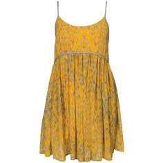 Free People Dress Periscopes ($235) ❤ liked on Polyvore featuring dresses, mustard, womens-fashion, mixed print dress, pattern dress, free people, mustard dress and mustard yellow dress