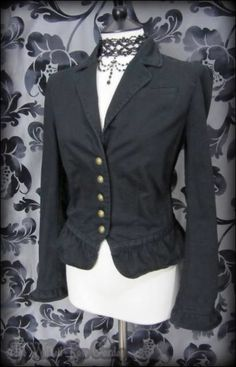 Gothic Victorian Black Ruffle Riding Jacket 12 Steampunk Vintage Romantic Goth | THE WILTED ROSE GARDEN on eBay // Worldwide Shipping Available
