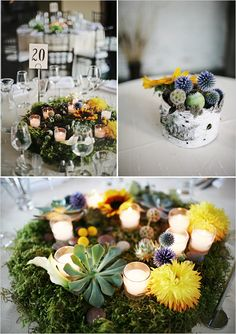 Okay, I don't love the specific flowers they used here -- but I love this concept of a super-low centerpiece and the use of tealights with moss & flowers!