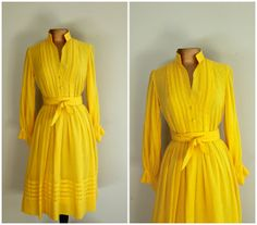 60s Dress / 1960s Yellow Cotton Day Dress / by VirginVintage2012, $65.00