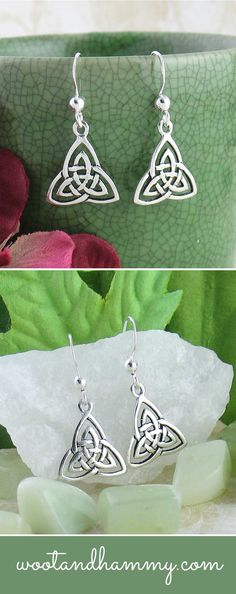 A triquetra is a triple-pointed Celtic knot with many different meanings. In Ireland, it is often given as a gift between lovers as a symbol of everlasting love.  In Wiccan or Pagan beliefs, it is a symbol of things that come in threes, such as the division of the world into land, sea and sky. It is also known to represent the triple moon goddess, where the Maiden, Mother and Crone, each representing a different phase of a woman's life, corresponds to a different phase of the moon.