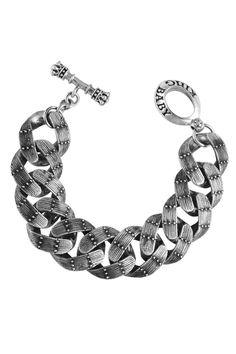 King Baby Studio Men's Large Sterling Silver Rivet Link Bracelet