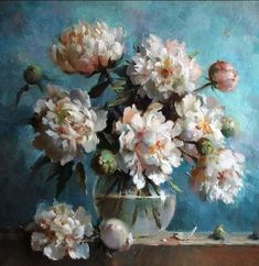 """Anna Smorygina # still life # art therapy # fiori # pittura More """"Anna Smorygina"""" Paintings Famous, Classic Paintings, Oil Painting Flowers, Watercolor Paintings, Flower Vases, Flower Art, Nature Artwork, Guache, Illustrations And Posters"""