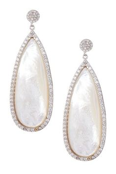 Sterling Silver Pave CZ & Mother of Pearl Long Teardrop Earrings by Adam Marc on @HauteLook