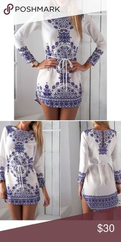 🎉🎉Blue and White Fix🎉🎉 Very cute top can be paired with a pants or shorts can be dressed up or dressed down. Tops
