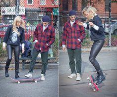The Cools x Bobbi Brown Host A Pretty Powerful Skateboard Lesson - Pro skater Eli Reed teaches actress Anastasia Ganias how to flip her skateboard over.