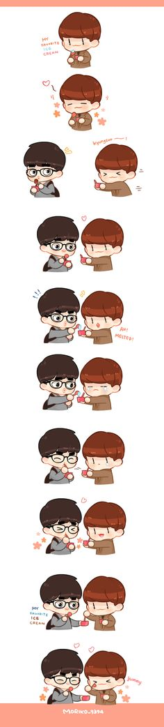 This is the cutest thing I've ever seen and the best part is that it's so Chen all the way Exo Fan Art, Exo Memes, Kpop Fanart, Chanbaek, Kyungsoo, Fandom, Otp, Chibi, Exo Anime