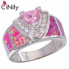 CiNily Created Pink Fire Opal Pink Zircon Cubic Zirconia Silver Plated Ring Wholesale for Women Jewelry Ring Size 5-10 JR2183 #Affiliate