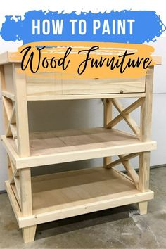 All the tips and tricks you need to know about painting Ikea pine furniture or unfinished wood including what kind of paint to use on pine wood. Unfinished Pine Furniture, Unfinished Wood, Wood Furniture, Painting Tips, Entryway Tables, Ikea, Bookcase, Home Decor, Timber Furniture