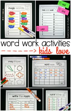 Editable word work activities! Type the words once and they automatically load into all of the word work activities. Huge time saver!