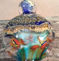 Hand Blown Glass Bottle Stopper Fish Under Starry Night    SRA #AspenHotGlass