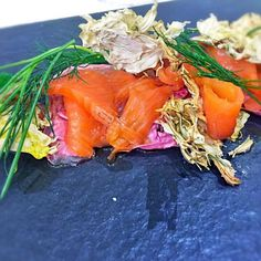 Orange marinated Salmon with Pink Radicchio, green Apple sauce and dehydrated Fennel on top by laura giardina at 2016-03-24