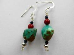 Genuine turquoise, southwestern style, dangle earrings, handmade earrings by JosiannesJewelry for $14.00