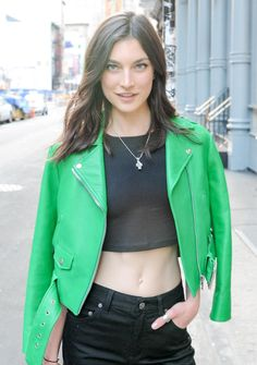 Jacqueline Jablonski green leather jacket / crop top