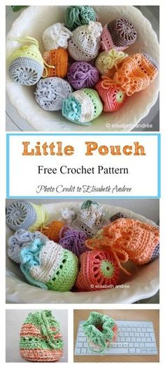 Crochet Amigurumi Basket Little Pouch Free Crochet Pattern - This crochet pouch is super mini, cute and useful. It has an unlimited number of uses. You can easily use the Little Pouch Free Crochet Pattern to make a few. Crochet Diy, Beau Crochet, Crochet Simple, Crochet Pouch, Crochet For Kids, Crochet Bags, Crochet Ideas, Crochet Tutorials, Small Crochet Gifts