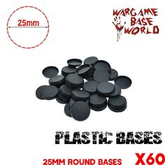 NEW Lot of 60 25mm Square plastic Bases Miniatures base and wargame model bases