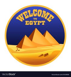 "Cartoon ""Welcome to Egypt"" concept logo isolated. Egyptian pyramids in the desert with sea blue sky. Vector illustration. Download a Free Preview or High Quality Adobe Illustrator Ai, EPS, PDF and High Resolution JPEG versions."