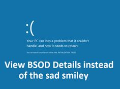 How to View BSOD (Blue Screen Of Death) instead of the sad smiley in Windows Learn how to show BSOD details and disable sad smiley in Windows. How to Force Windows 10 to display the Stop Error information on Blue Screen. Windows 10 Tutorials, Windows 10 Features, Smiley, Computers, Sad, Death, Display, Learning, Blue