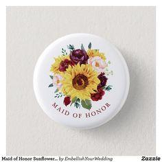 Maid of Honor Sunflower Burgundy Blush Floral Button Modern Floral Design, Wedding Graphics, Wedding Store, Blush Roses, Candy Jars, Bridal Shower Gifts, Wedding Supplies, Maid Of Honor, Wedding Designs