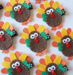 Felt Turkey Hair Clip - Cute Thanksgiving Clippies - Chocolate Brown, Orange and Yellow - Fall and Autumn Hair Bows. $3.50, via Etsy.