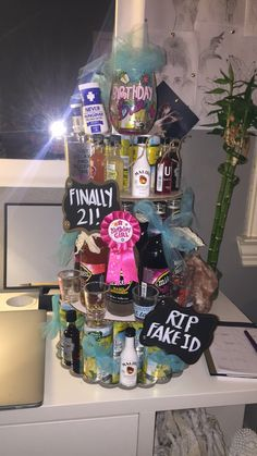 Great 21st Birthday Idea! Mini Liquor Birthday Cake Tower!!