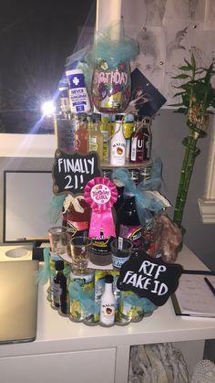 Great 21st Birthday Idea! Mini Liquor Birthday Cake Tower!!
