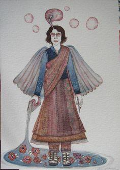 Dhruvi Acharya, Woman in Sari, Watercolor on Paper, 17.7 x 12.6 cm