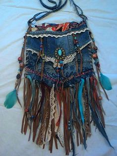 Handmade Denim CrossBody Bag Boho Hippie Purse Beaded Leather Fringe Lace tmyers Source by frayed boho Boho Hippie, Hippie Purse, Estilo Hippie, Hippie Bags, Boho Bags, Hippie Style, Bohemian Style, Boho Gypsy, Gypsy Bag