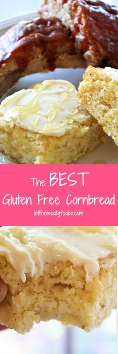 Ya'll, this is the BEST cornbread I've ever had, gluten free or not! It's just sweet enough with a crunchy crust, but soft and tender on the inside. free The BEST Gluten Free Cornbread - Ya'll, this is the BEST cornbread I've e Gluten Free Donuts, Gluten Free Baking, Gluten Free Desserts, Gluten Free Recipes, Healthy Recipes, Healthy Oils, Gf Recipes, Vegan Baking, Healthy Food