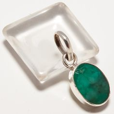 "925 SOLID SILVER FACTED SKOTA MINE EMERALD GEMSTONE PENDANT 1.01"" #Handmade #Pendant"