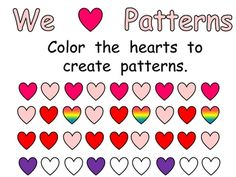 This printable page allows students the opportuntity to practice creating their own patterns by coloring hearts!! This is a fun way to practice an ...