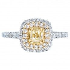 New 0.98 CTW Fancy Yellow Diamond Halo Engagement Ring
