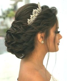 Quinceanera hairstyles with crown. Sweet Quinceanera hairstyles with crown. Pin By Kathy Karadolian On Hair In 2019 Wedding Hairstyles - fancy hairstyles for quince fancy hairstyles for weddings Sweet 16 Hairstyles, Quince Hairstyles, Celebrity Hairstyles, Fancy Hairstyles, Wedding Hairstyles With Crown, Crown Hairstyles, Bride Hairstyles, Updo Hairstyle, Hairstyle Ideas