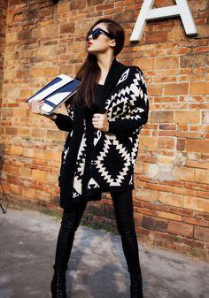 Black Geometric Irregular Long Sleeve Cardigan Suéter Tribal e2324e21c50