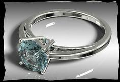 White Gold Aquamarine engagement ring