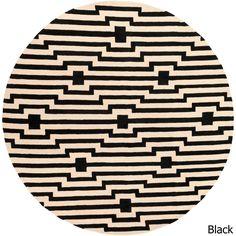Surya Hand-Tufted Holbeach Wool Rug (3'6 Round) (Black-(3'6 Round)), Black
