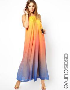 ASOS CURVE Rainbow Maxi Dress With Necklace Trim