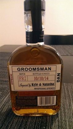 Custom Wedding Groomsman Liquor Labels for by idoartsyweddings