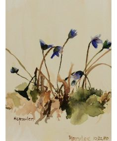 """This original watercolor by Sister Mary Lee Hillenbrand, OSB, is called """"Hepatica."""""""