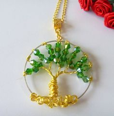 Green Crystal Beaded Wirewrapped Tree of Life Pendant Necklace #Handmade #Pendant