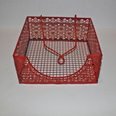 Napkin Holder/ Red /Bright Metal /Shabby Chic /Kitchen Decor /Table Accessory /Distressed