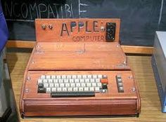 The Apple One. The first Apple computer(1976) The wooden case is home made and a cassette player could be added for data storage for an extra $75 and could be hidden under the panel behind the keyboard.