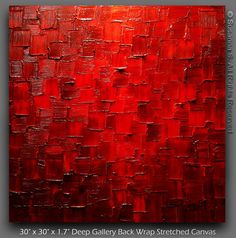 Original Palette Knife Painting Modern Large Red by ModernHouseArt, $400.00