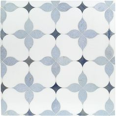 Tiles - Eveningstar Marble Tile - The kitchen will be dressed in soft white shaker cabinets, calacatta quartz countertops and this white and blue mosaic marble tile . Marble Tiles, Stone Tiles, Tiling, Blue Mosaic Tile, Blue Tiles, Subway Tiles, Bathroom Flooring, Kitchen Flooring, Small American Kitchens