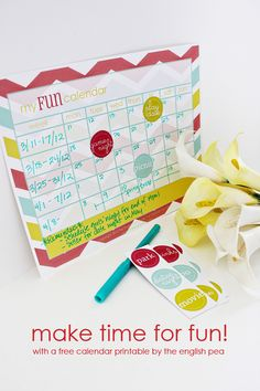 the english pea studio, make time for fun printable calendar set
