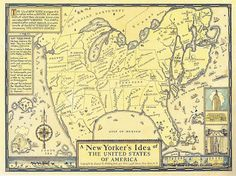 """""""New Yorker's Idea of the USA"""" published in 1936, decades before the famous New Yorker cover"""