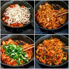 how to stir fry Kimchi udon noodle stir fry is an easy weeknight meal that can be ready in 15 mins. Key ingredients are bacon, Kimchi, udon noodles and Korean spicy sauce. Its simply add Vegetarian Recipes, Cooking Recipes, Healthy Recipes, Healthy Food, Dinner Healthy, Cooking Tips, Stir Fry Kimchi, Fried Udon, Korean Kitchen